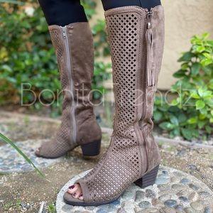 Taupe Vegan Suede Peep Toe Laser Cut boots